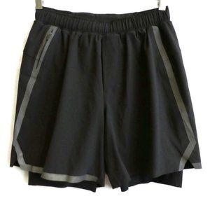 Shorts Longer Liner Black Reflective Running Zip S